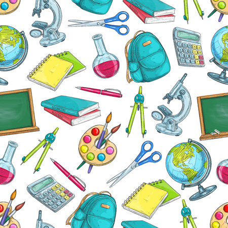 School education seamless pattern. Pencil and book, ruler and pen, globe and notebook, scissors, calculator, paint brush, microscope,backpack,blackboard sketches for back to school concept design