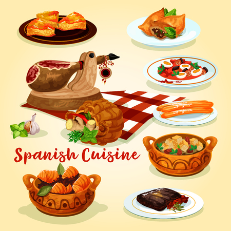 Spanish cuisine dishes poster of ham, sausage stew with vegetables and egg, beef steak, fish and lamb pie, tuna stew, almond soup with bread and fried cookie churro