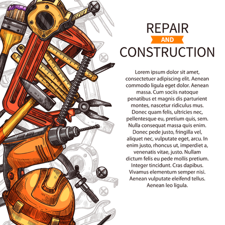 Plakat narzędzi DIY. Młot, śrubokręt i klucz, klucz, wiertarka, szczypce i szczotki do malowania, taśma, kask i wkręt, gwoździe i wbijak, projekt plakatu instrumentu ręcznego