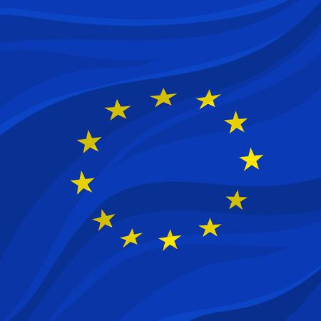 European Union flag symbol with circle of yellow stars on blue field. Illustration