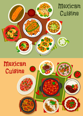 Mexican cuisine dinner dishes set. Beef taco with sauce, stuffed pepper, vegetable with meat and bean, chicken chilli, soup with tortilla chips, grilled burrito with cheese, shrimp salad, meat pie Illustration