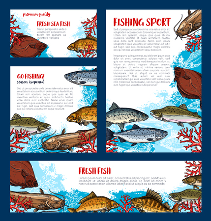 Fish banners set for fishing sport design