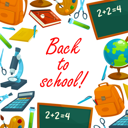 Back to school background poster. School book, notebook, pencil and pen, globe, blackboard, scissors and backpack, paint, brush, calculator and compasses, microscope banner for education design Ilustracja