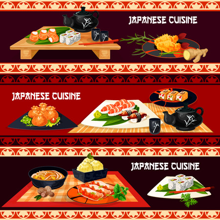 Japanese cuisine sushi bar banner set. Sushi platter of salmon fish roll, nigiri with rice, shrimp and tuna, fried seafood dumpling, pork noodle soup, tempura prawn, meat pie, green tea ice cream