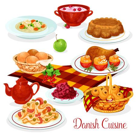 ランチ メニュー デザイン デンマーク料理食品。サーモンのパスタ、ぬいぐるみトマト、赤キャベツのサラダとチキン、ライス プディング チェリー ソース、鶏からスープ、レーズンのパンとナッツのパイ 写真素材 - 85568167