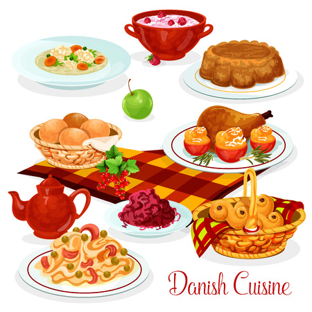 Danish cuisine food for lunch menu design. Salmon fish pasta, chicken with stuffed tomato, red cabbage salad, rice pudding with cherry sauce, chicken soup, raisin bun and nut pie