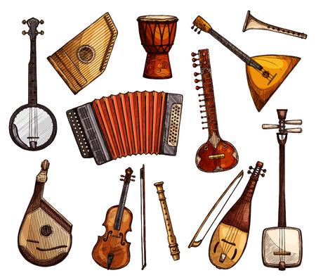 Croquis d'instruments de musique ethniques. Alto italien, flûte et accordéon, sitar indien, banjo américain, tambour djembe africain, balalaïka russe, shamisen japonais et icône ukrainienne bandura isolé