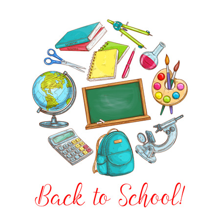 Back to school poster with school supplies. Pencil, book and pen, notebook and chalkboard, globe, paint and brush, backpack, scissors and compasses, microscope, chemical flask, calculator sketches