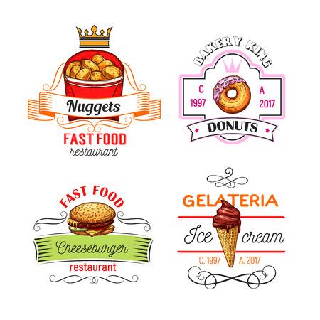 Fast-food restaurant, donut winkel en ijs cafe symbolen of pictogrammen. Cheeseburger, geglazuurde donut, chocolade-ijsje en kipnuggets schetsen symbool met vaandel en kroon Stock Illustratie