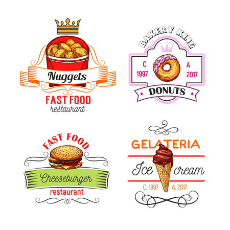 Fast food restaurant, donut shop and ice cream cafe symbols or icons. Cheeseburger, glazed donut, chocolate ice cream cone and chicken nuggets sketch symbol with ribbon banner and crown Illustration