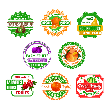 Fruit, farm product labels. Orange, apple, pear, watermelon, plum and kiwi, pomegranate fruit isolated cartoon symbol for natural juice, dessert and jam packaging, organic food design