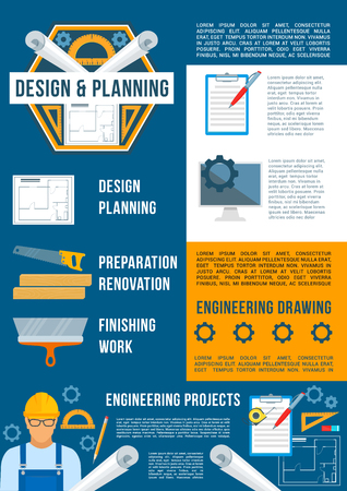 Architectural and engineering drawing, Construction theme design
