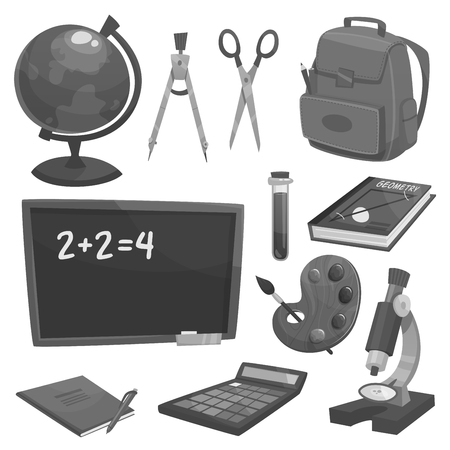 School supplies objects and icons. Pencil, book and pen, notebook, globe, chalkboard, backpack and flask, paint, brush and calculator, scissors and compass, microscope symbols for education design Illustration