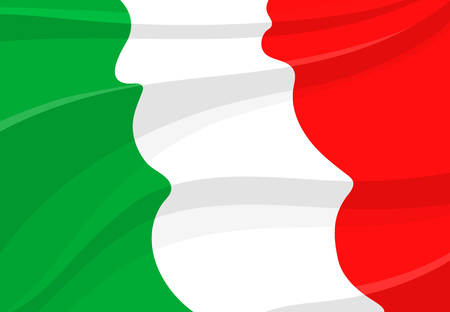 Italian Republic flag in 3d style. National banner of Italy, realistic tricolor with green, white and red stripe, waving in the wind. Travel, tourism, european geography and history themes design Reklamní fotografie - 85568423