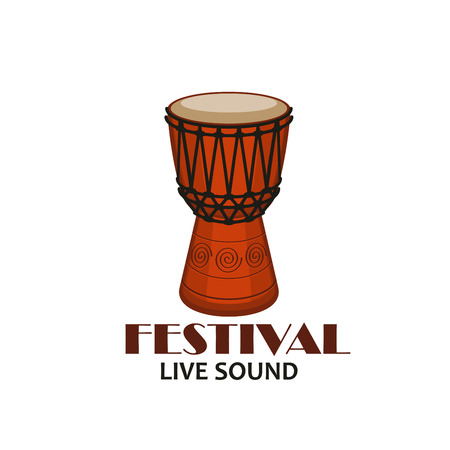 Live music concert symbol with drum. Percussion musical instrument of african djembe isolated icon for folk music festival event emblem, ethnic musical instrument themes design