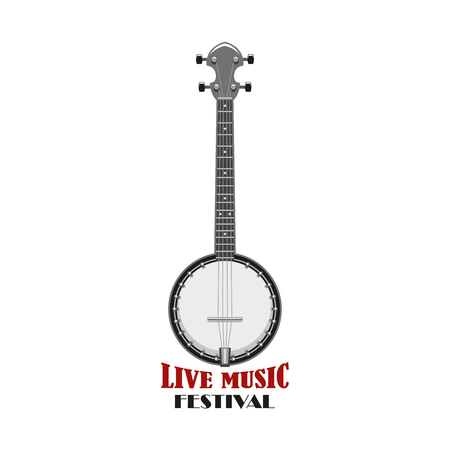 Live music festival emblem. String instrument of american folk music, banjo isolated icon for ethnic musical instrument symbol, country fest event and music entertainment design