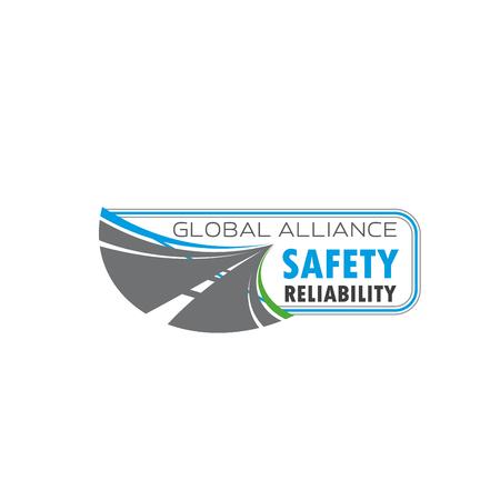 アスファルトの道路と道路交通安全シンボル  イラスト・ベクター素材