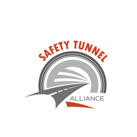 Road tunnel icon for safety traffic emblem design