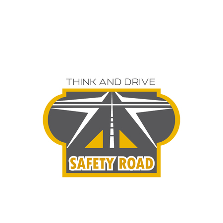 Safety road isolated icon with highway crossroad Illusztráció