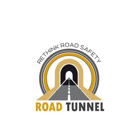Road tunnel isolated icon with highway or freeway