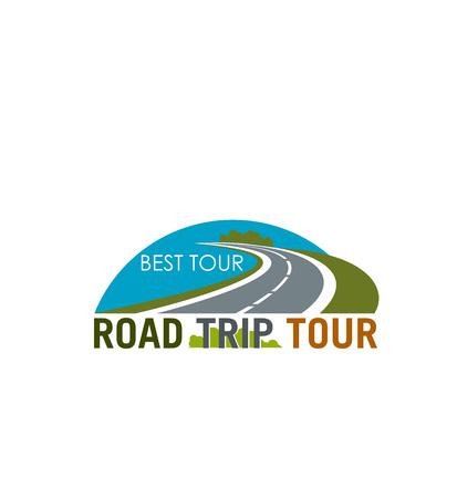 Road trip tour symbol design with coastal highway Ilustração
