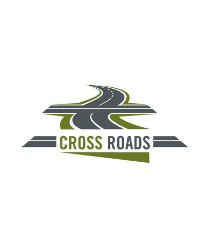 Kruis wegsymbool met weg en dwarsmanieren Stock Illustratie