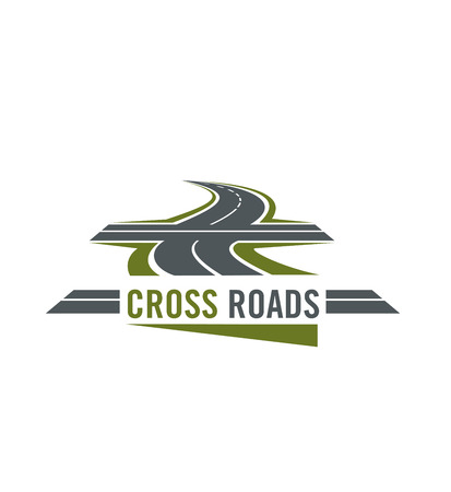Cross road symbol with highway and cross ways Illustration