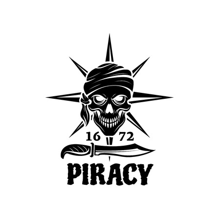 Skull of pirate in bandana icon for tattoo design