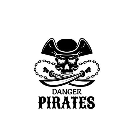 Pirate skull in captain hat with sword icon design Illustration