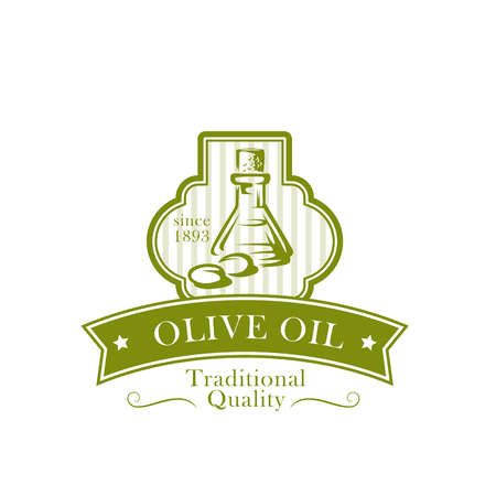 Olive oil product label with bottle, green fruit Çizim