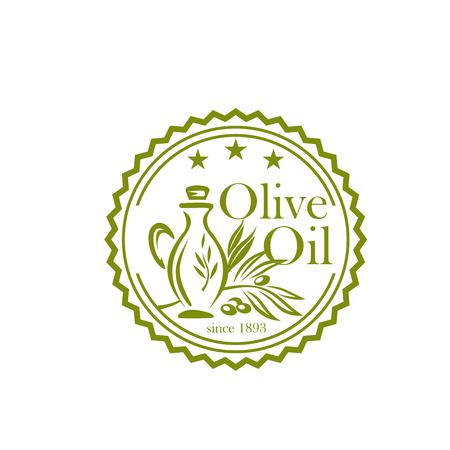 Olive oil icon for organic food label design Çizim