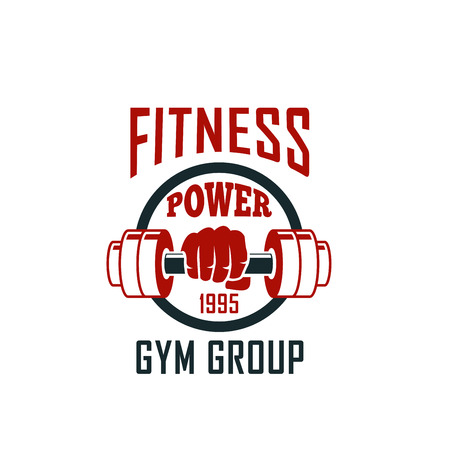 Gym icon of dumbbell for fitness sport club design Illustration