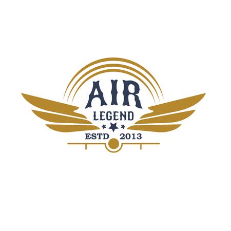 Aviation retro icon with plane propeller and wings Ilustração