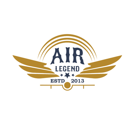 Aviation retro icon with plane propeller and wings Illustration