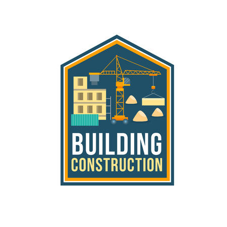 Construction company badge with building site Illustration