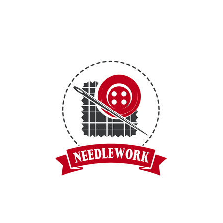 Needle and button badge for tailor shop design