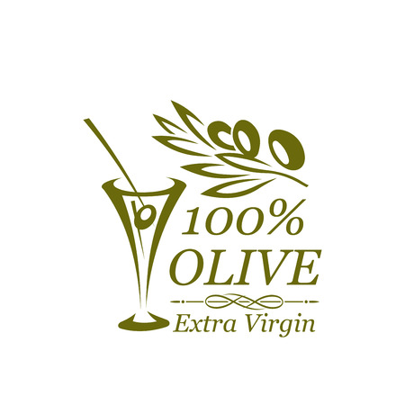 olive green: Green olive branch and cocktail glass icon design