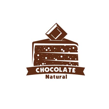 Chocolate cake or cocoa sweet dessert icon design