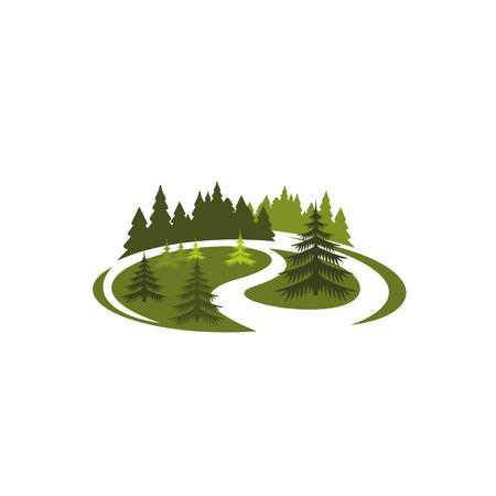 Park green nature icon of forest tree landscape Vektorové ilustrace