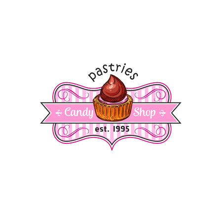 Cake dessert badge of pastry shop. Cupcake or muffin with chocolate cream and strawberry fruit glaze isolated symbol with ribbon banner for candy shop. Illustration