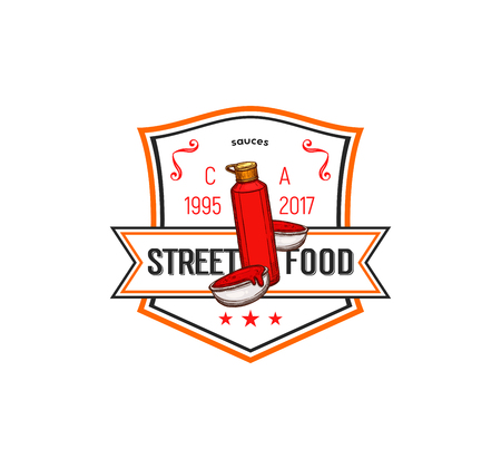 Fast food label of ketchup sauce. Fast food sauce badge with ketchup squeeze bottle and bowl with tomato and chilli sauce, decorated with ribbon banner and star for street fast food design