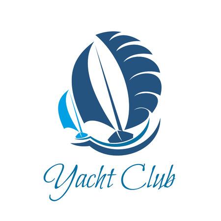 Symbol klubu jachtów dla żeglarskiego sportu i żeglarstwa Ilustracje wektorowe