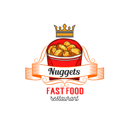 Fast food restaurant label with chicken nuggets.