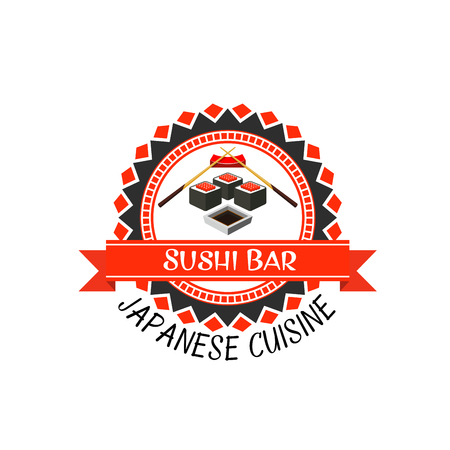 Sushi bar label of japanese cuisine. Seafood sushi roll with rice, seaweed nori and red caviar, chopsticks and soy sauce round badge with ribbon banner for asian food themes design Illustration