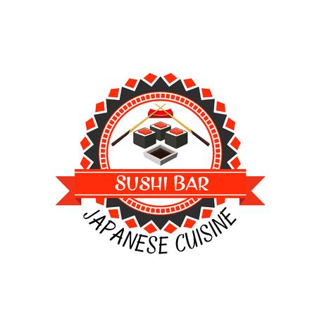 Sushi bar label van de Japanse keuken. Zeevruchten sushi roll met rijst, zeewier nori en rode kaviaar, eetstokjes en sojasaus ronde badge met vaandel voor Aziatisch eten thema's ontwerp Stockfoto - 86250992