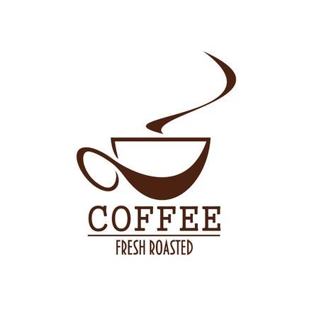coffeeshop 또는 카페 메뉴의 커피 컵 갈색 레이블