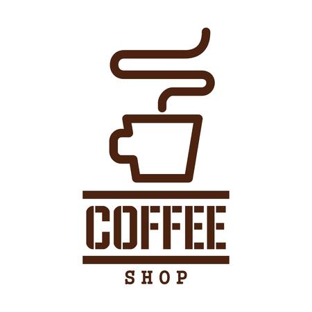 에 스 프레소 컵 커피 마시는 라벨 디자인 일러스트