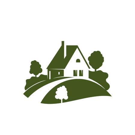 庭の木、植物および芝生の緑色の家アイコン
