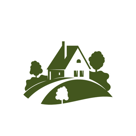 Green house icon with garden tree, plant and lawn Stock fotó - 86000151