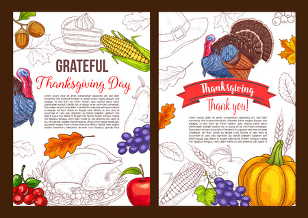 Thanksgiving day vector sketch greeting poster